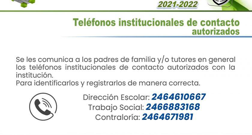 Teléfonos institucionales de contacto autorizados